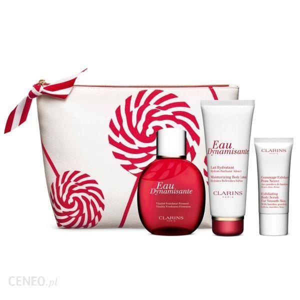 Clarins Zestaw Do Demakijażu Eau Dynamisante Christmas Set Balsam 100ml + Deo100ml + Scrub 30ml + Kosmetyczka