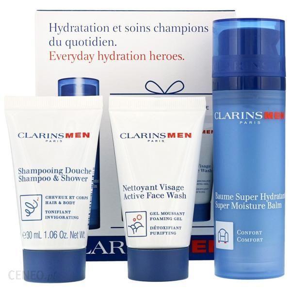 clarins Zestaw Hydration Men Gift Set szampon 30Ml +żel do mycia 30Ml + balsam 50Ml