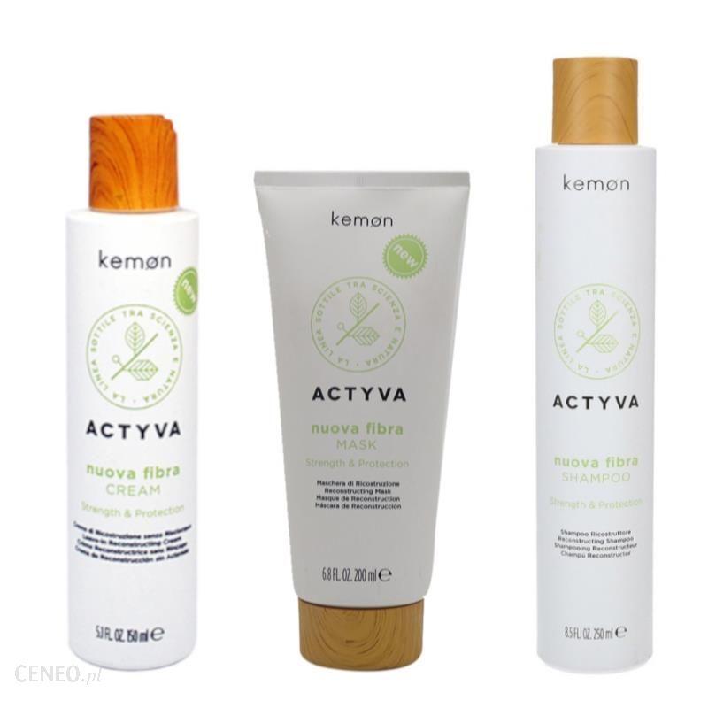Kemon Actyva Nuova Fibra Zestaw do włosów zniszczonych: krem odbudowujący 150ml + maska odbudowująca 200ml + szampon odbudowujący 250ml