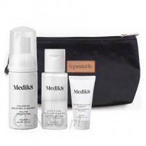 Medik8 Calmwise Travel Set 1 ZESTAW Płyn do demakijażu 30 ml + Pianka chlorofilowa 40 ml + Krem neutralizujący z efektem maskującym 15 ml