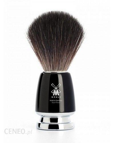 Muhle Pędzel do golenia RYTMO 21M226 włosie syntetyczne BLACK FIBRES uchwyt czarny z metalowym wykończeniem
