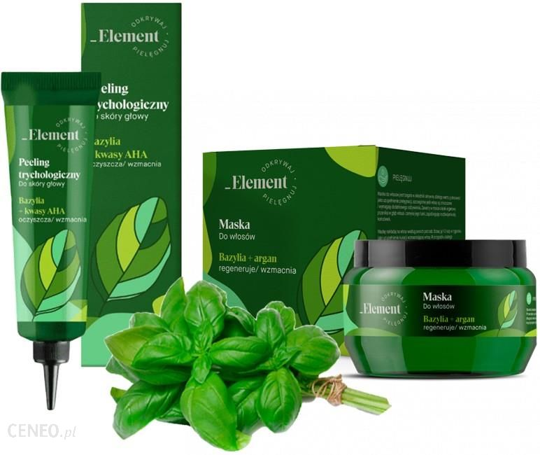 Vis Plantis Kosmetyki przeciw wypadaniu włosów maska + peeling Basil Element Zestaw