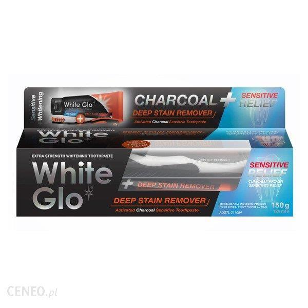 White Glo Deep Stain Charcoal Sensitive Czarna Pasta Węglowa Do Wybielania Zębów Wrażliwych 100 Ml + Szczoteczka